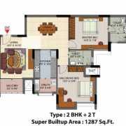 Salarpuria Senorita Floor Plan 1287 Sqft. 2 BHK + 2T