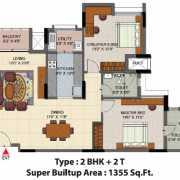 Salarpuria Senorita Floor Plan 1355 Sqft. 2 BHK + 2T