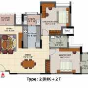 Salarpuria Senorita Floor Plan 1364 Sqft. 2 BHK + 2T
