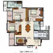 Salarpuria Senorita Floor Plan 1540 Sqft. 3 BHK + 2T