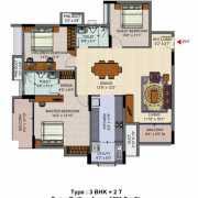 Salarpuria Senorita Floor Plan 1582 Sqft. 3 BHK + 2T