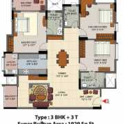 Salarpuria Senorita Floor Plan 1929 Sqft. 3 BHK + 3T