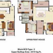 Salarpuria Senorita Floor Plan 3419 Sqft. 4 BHK - Duplex