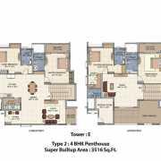 Salarpuria Senorita Floor Plan 3516 Sqft. 4 BHK - Duplex