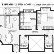 Bhartiya Nikoo Homes 2 Floor Plan 1635 Sqft. 3 BHK