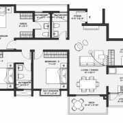 Bhartiya Nikoo Homes 2 Floor Plan 2259 Sqft. 4 BHK