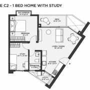 Bhartiya Nikoo Homes 2 Floor Plan 908 Sqft. 1 BHK + Study