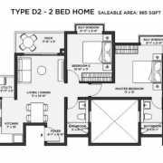 Bhartiya Nikoo Homes 2 Floor Plan 985 Sqft. 2 BHK