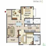 Prestige Song of the South Floor Plan 1357 Sqft. 2.5 BHK