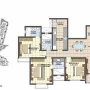 Prestige Song of the South Floor Plan 1634 Sqft. 3 BHK (Small)