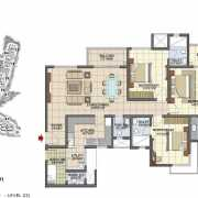 Prestige Song of the South Floor Plan 1933 Sqft. 3 BHK (Large)