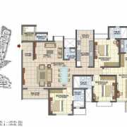 Prestige Song of the South Floor Plan 2467 Sqft. 4 BHK