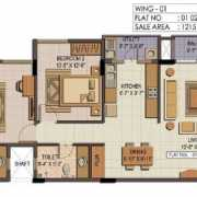 Shriram Summitt Floor Plan 1175 Sqft. 2 BHK