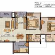 Shriram Summitt Floor Plan 1335 Sqft. 2.5 BHK  Phase 3