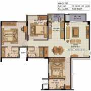 Shriram Summitt Floor Plan 1450 Sqft. 3 BHK