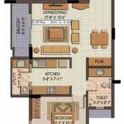 Shriram Summitt Floor Plan 775 Sqft. 1 BHK