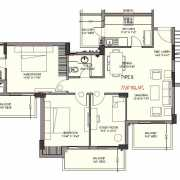 Ashiana Mulberry Floor Plan 1465 Sqft. 2 BHK + 2T + Study