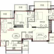 Ashiana Mulberry Floor Plan 1730 Sqft. 3BHK+3T