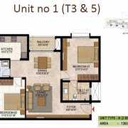 Prestige West Woods Floor Plan 1263 Sqft. 2 BHK