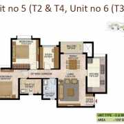 Prestige West Woods Floor Plan 1357 Sqft. 2 BHK + Study