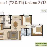 Prestige West Woods Floor Plan 1736 Sqft. 3 BHK