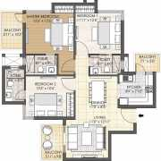Oyster Grande Floor Plan 1699 Sqft. 3 BHK