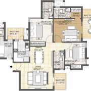 Oyster Grande Floor Plan 1889 Sqft. 3 BHK + Servant Room
