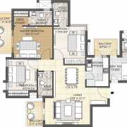 Oyster Grande Floor Plan 1898 Sqft. 3 BHK + Servant Room