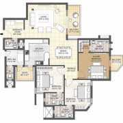 Oyster Grande Floor Plan 2550 Sqft. 3 BHK + Powder Room + Servant Room