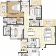 Oyster Grande Floor Plan 2579 Sqft. 3 BHK + Study + Servant Room
