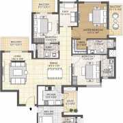 Oyster Grande Floor Plan 2598 Sqft. 3 BHK + Study + Servant Room