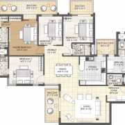Oyster Grande Floor Plan 3198 Sqft. 4 BHK + Powder Room + Servant Room