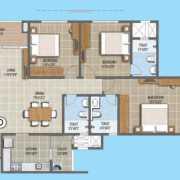 Purva The Waves Floor Plan 1348 Sqft. 2 BHK