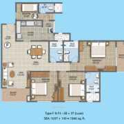 Purva The Waves Floor Plan 1846 Sqft. 3 BHK