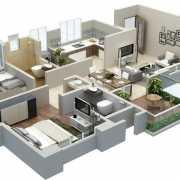 Kolte Patil Stargaze Floor Plan 730 Sqft. 2 BHK