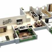 Kolte Patil Stargaze Floor Plan 1012 Sqft. 3 BHK