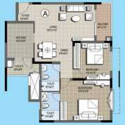Purva Palm Beach Floor Plan 1232 Sqft. 2 BHK
