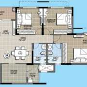 Purva Palm Beach Floor Plan 1482 Sqft. 3 BHK