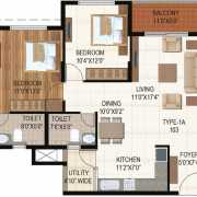 Ajmera Stone Park Floor Plan 1075 Sqft. 2 BHK