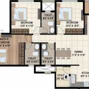 Ajmera Stone Park Floor Plan 1435 Sqft. 3 BHK