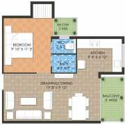 Raheja Krishna Housing Scheme Floor Plan 345.44 Sqft. 1 BHK