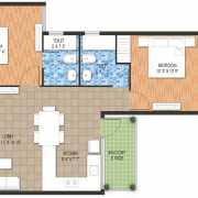Raheja Krishna Housing Scheme Floor Plan 452.32 Sqft. 2 Bhk