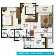Brigade Buena Vista Floor Plan 1170 Sqft. 2 BHK