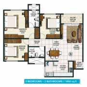 Brigade Buena Vista Floor Plan 1490 Sqft. 3 BHK + 2T