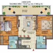 Central Park The Room Floor Plan 1277 Sqft. 2 BHK