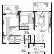 Ireo Nuspark Floor Plan 1359 Sqft. 2BHK+T+WC+Bath