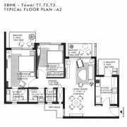 Ireo Nuspark Floor Plan 1370 Sqft. 2BHK+T+WC+Bath