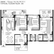 Ireo Nuspark Floor Plan 1611 Sqft. 3BHK+T+WC+Bath
