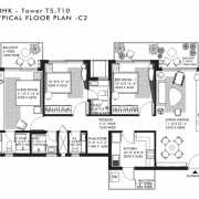 Ireo Nuspark Floor Plan 1618 Sqft. 3BHK+2T+WC+Bath