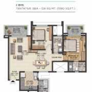Sobha City Gurgaon Floor Plan 1380 Sqft. 2 BHK + 2T